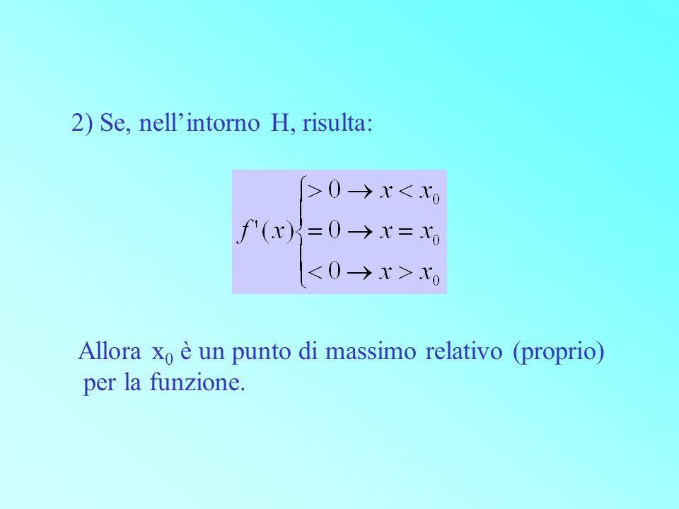 2) Se, nell'intorno H, risulta: