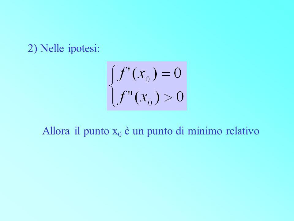 2) Nelle ipotesi: Allora il punto x0 è un punto di minimo relativo