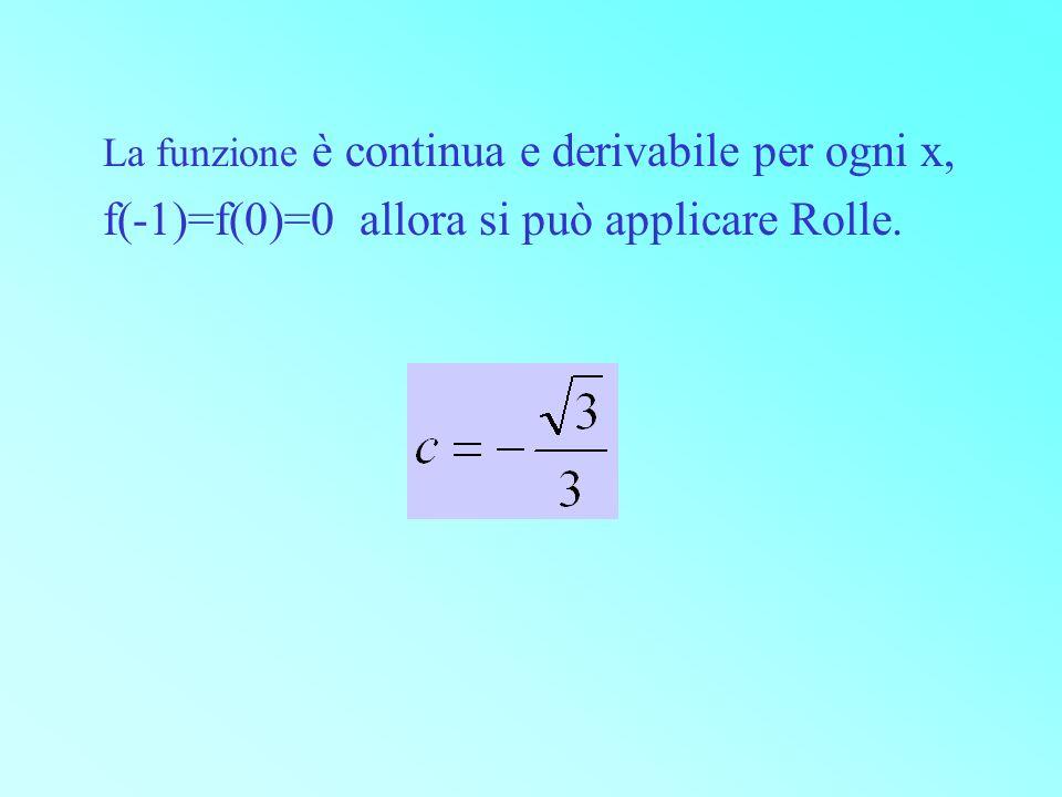 La funzione è continua e derivabile per ogni x,