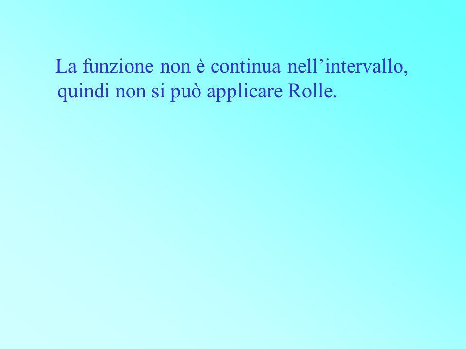 La funzione non è continua nell'intervallo, quindi non si può applicare Rolle.