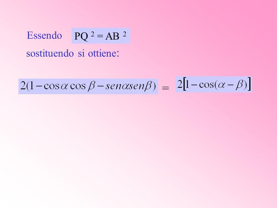 Essendo sostituendo si ottiene: = PQ 2 = AB 2