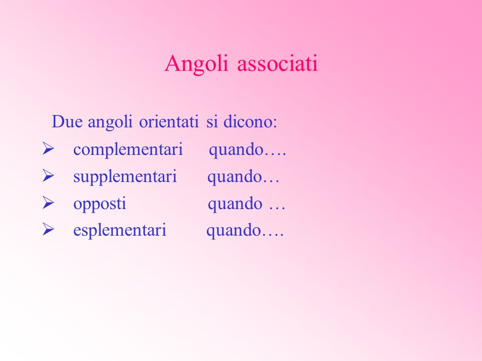 Angoli associati Due angoli orientati si dicono: