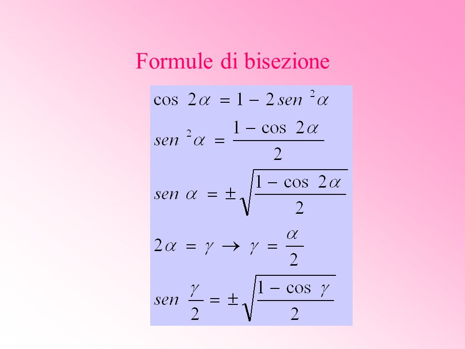 Formule di bisezione