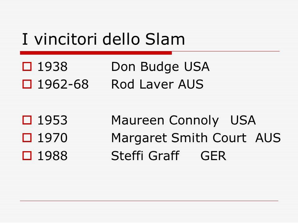 I vincitori dello Slam 1938 Don Budge USA 1962-68 Rod Laver AUS