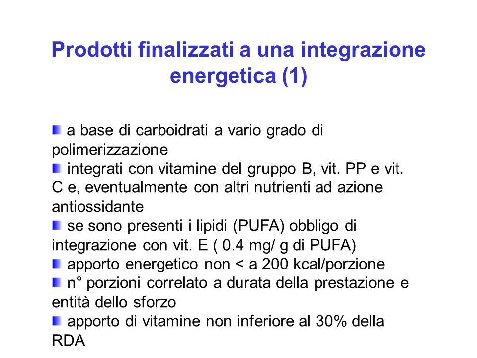 Prodotti finalizzati a una integrazione energetica (1)