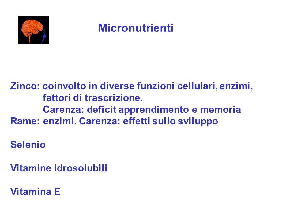Micronutrienti Zinco: coinvolto in diverse funzioni cellulari, enzimi,