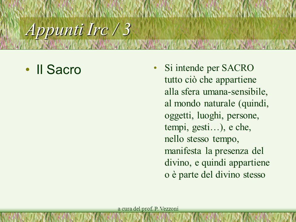 a cura del prof. P. Vezzoni