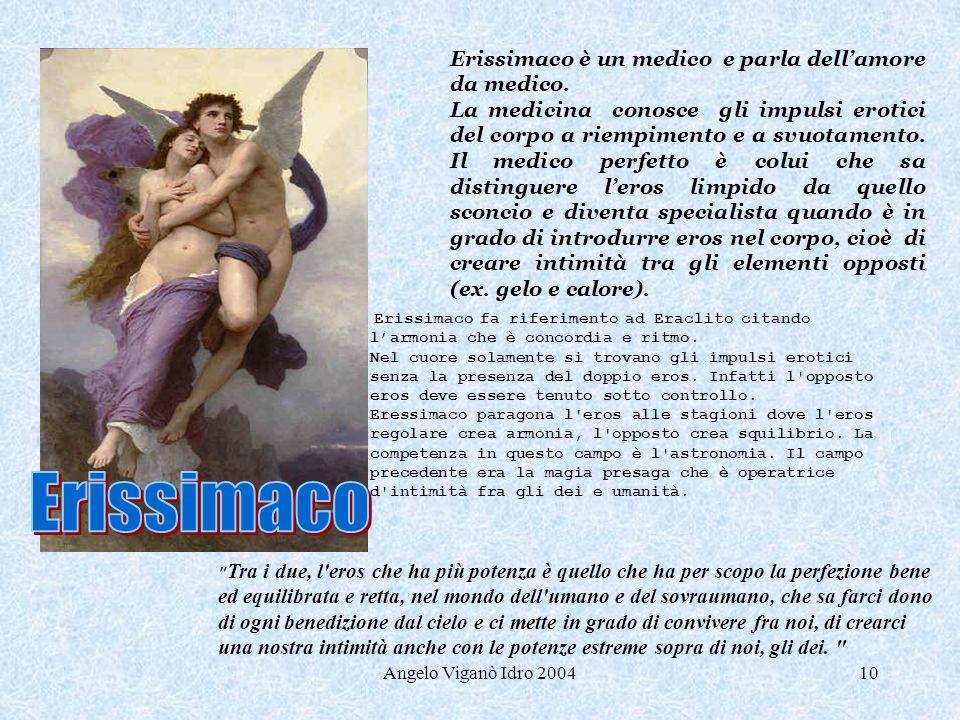 Erissimaco Erissimaco è un medico e parla dell'amore da medico.