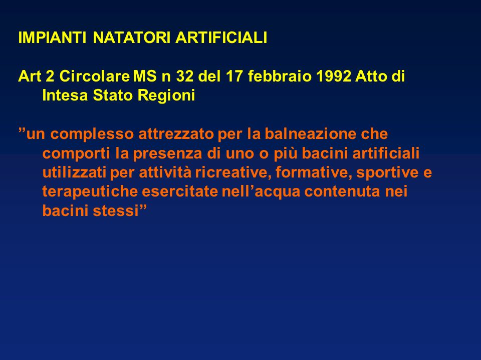 IMPIANTI NATATORI ARTIFICIALI