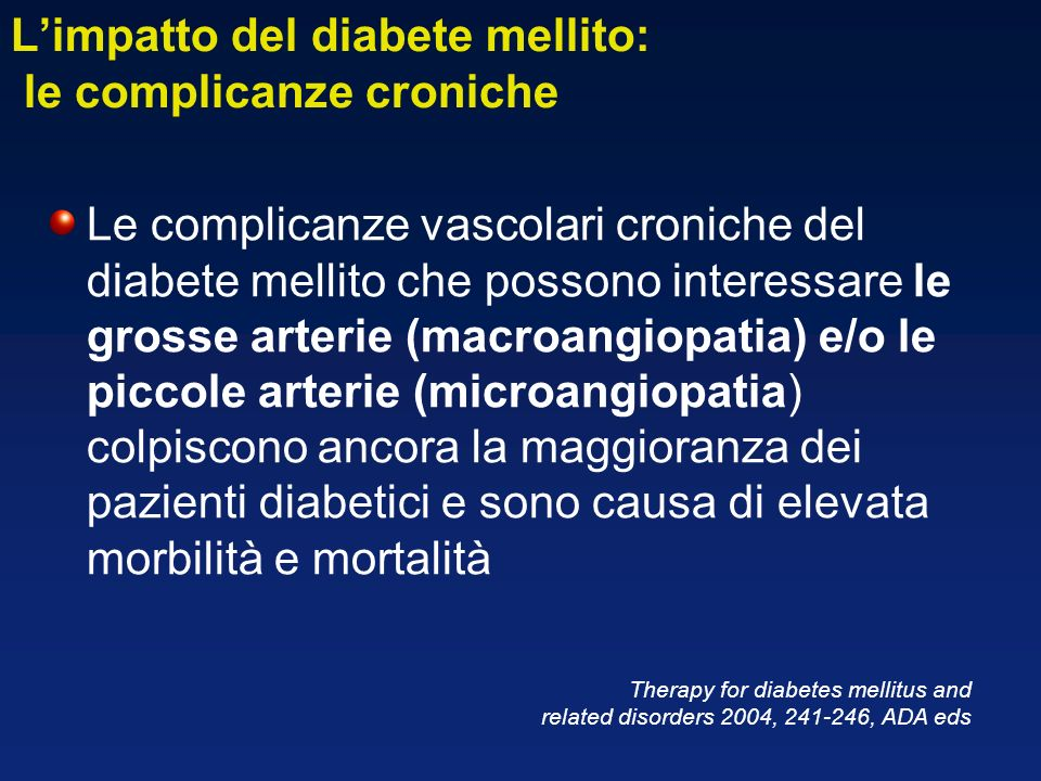 L'impatto del diabete mellito: le complicanze croniche