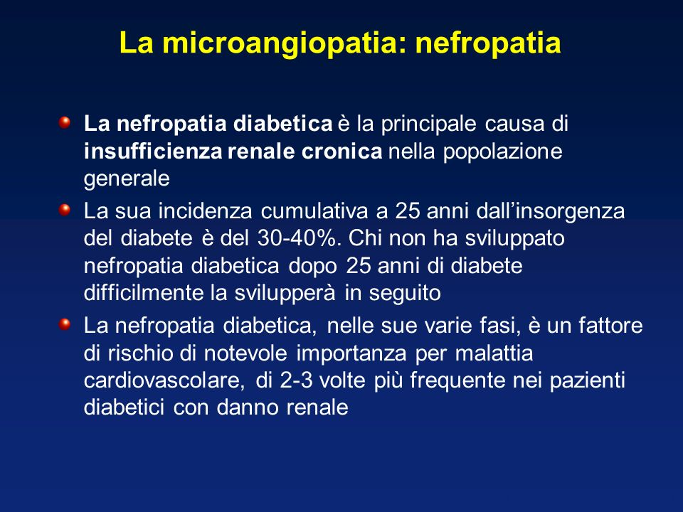 La microangiopatia: nefropatia