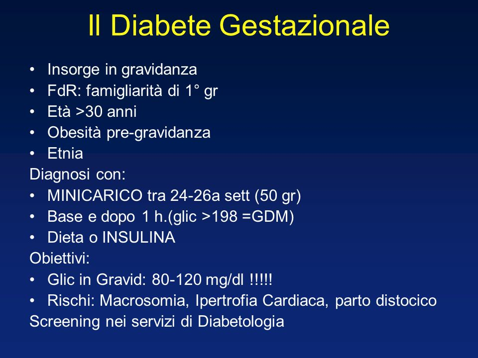 Il Diabete Gestazionale
