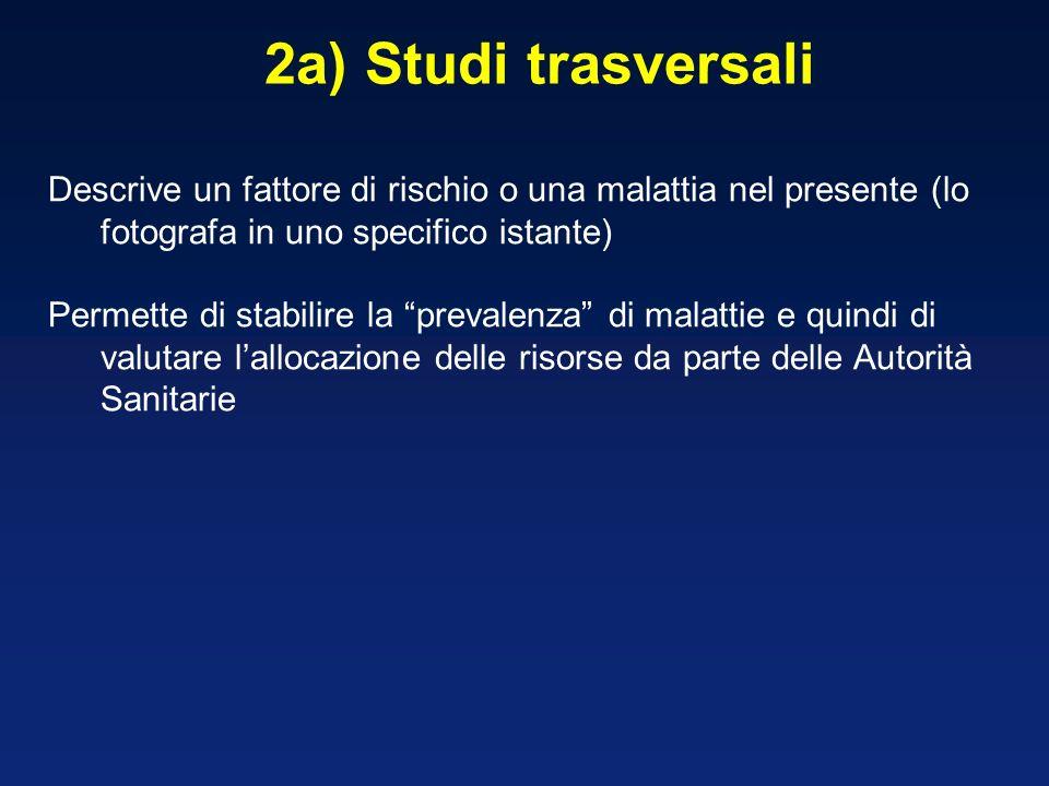 2a) Studi trasversali Descrive un fattore di rischio o una malattia nel presente (lo fotografa in uno specifico istante)