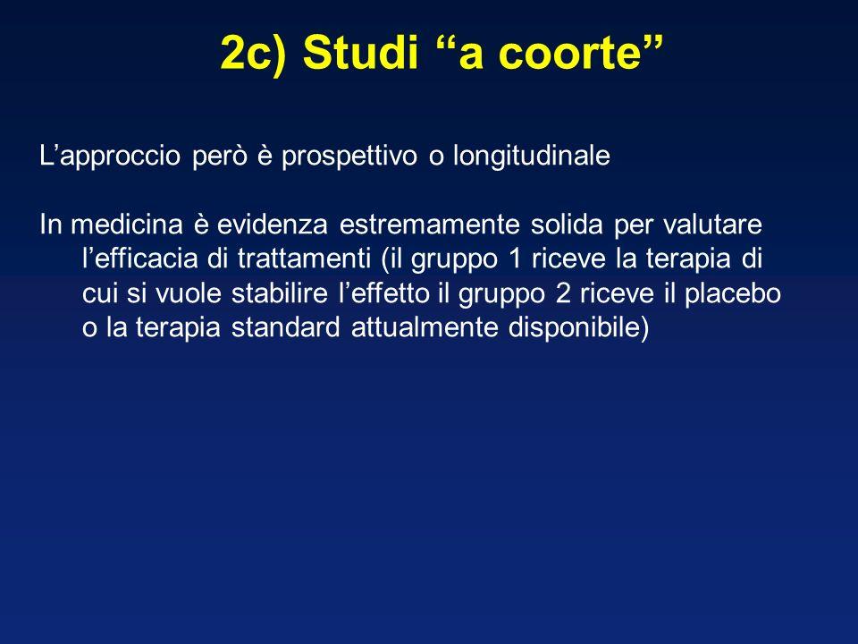 2c) Studi a coorte L'approccio però è prospettivo o longitudinale