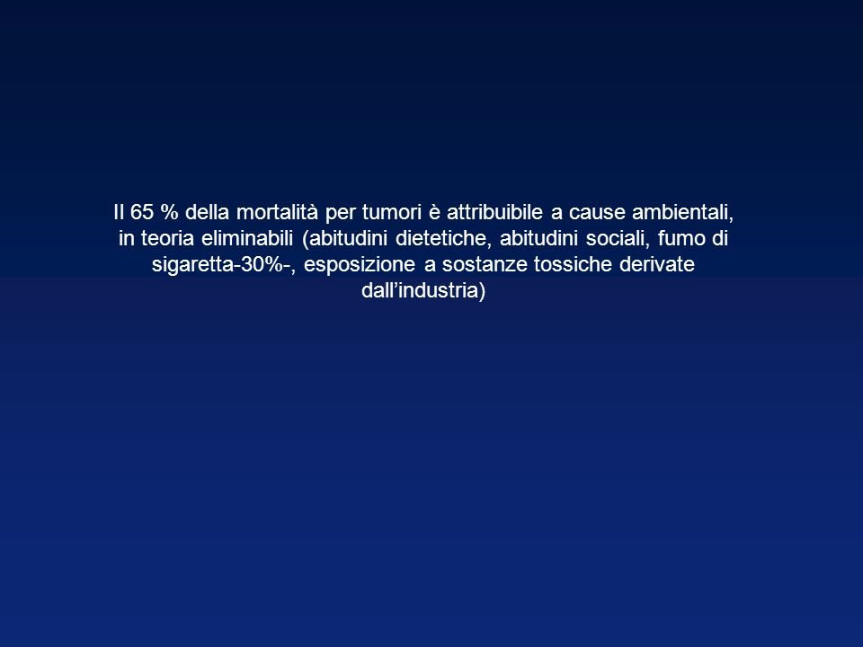 Il 65 % della mortalità per tumori è attribuibile a cause ambientali, in teoria eliminabili (abitudini dietetiche, abitudini sociali, fumo di sigaretta-30%-, esposizione a sostanze tossiche derivate dall'industria)