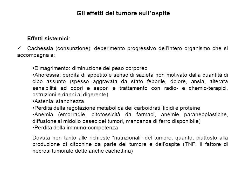 Gli effetti del tumore sull'ospite