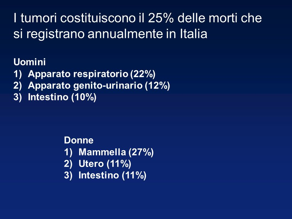I tumori costituiscono il 25% delle morti che si registrano annualmente in Italia