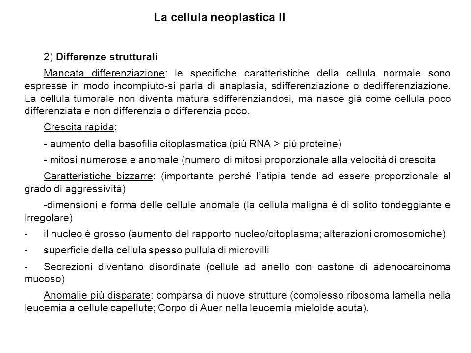 La cellula neoplastica II