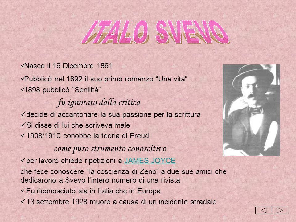 ITALO SVEVO Nasce il 19 Dicembre 1861