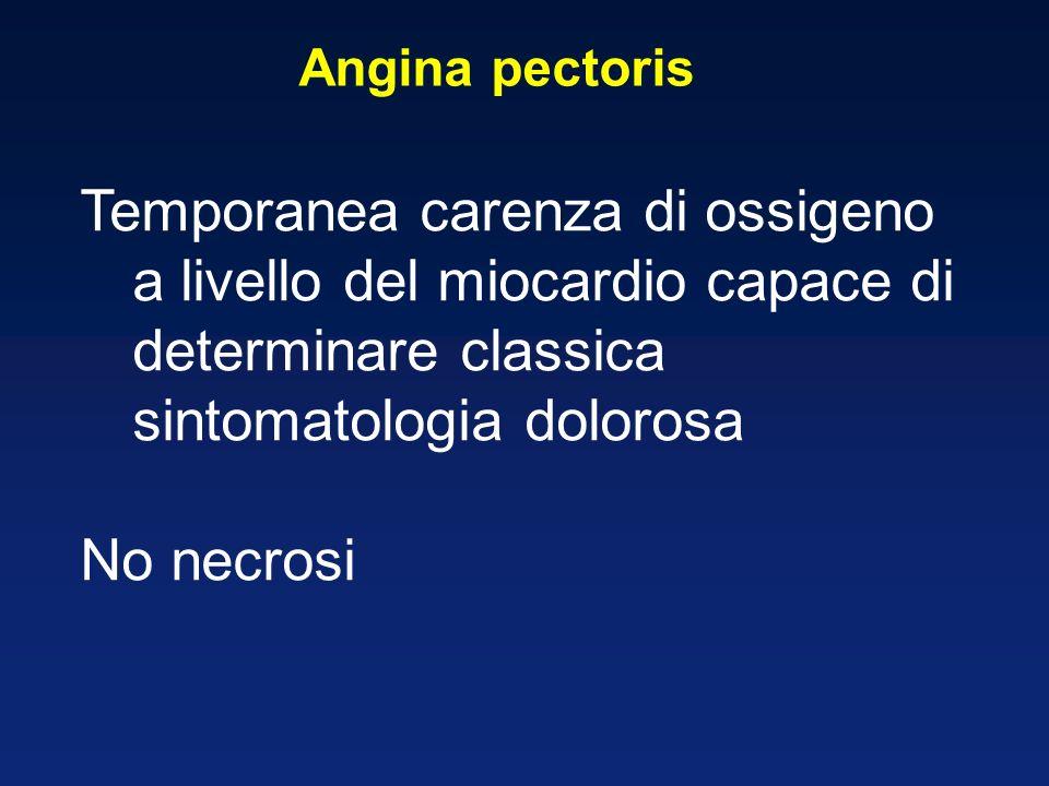 Angina pectoris Temporanea carenza di ossigeno a livello del miocardio capace di determinare classica sintomatologia dolorosa.