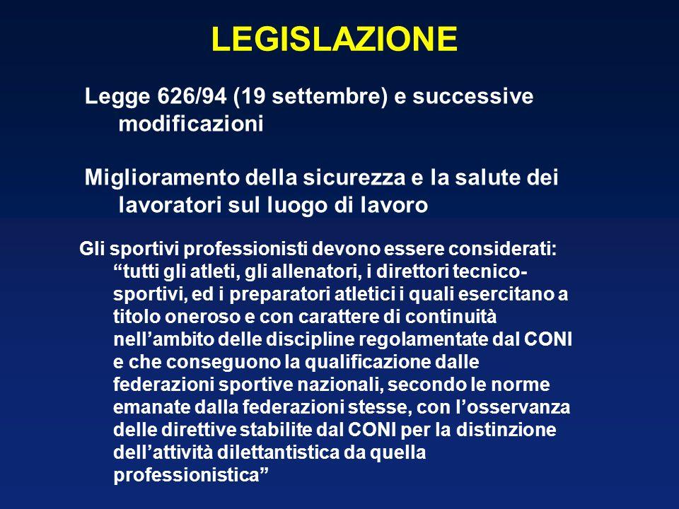 LEGISLAZIONE Legge 626/94 (19 settembre) e successive modificazioni