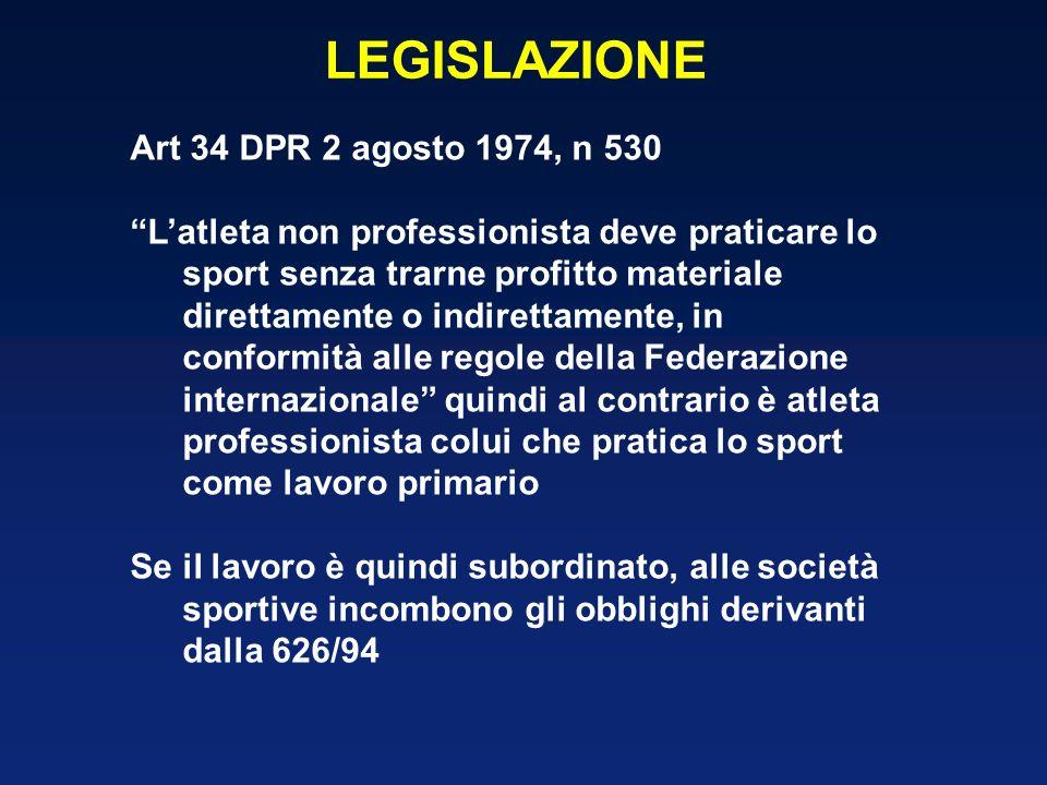 LEGISLAZIONE Art 34 DPR 2 agosto 1974, n 530
