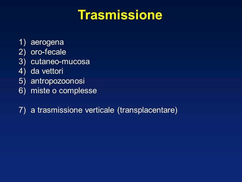 Trasmissione aerogena oro-fecale cutaneo-mucosa da vettori