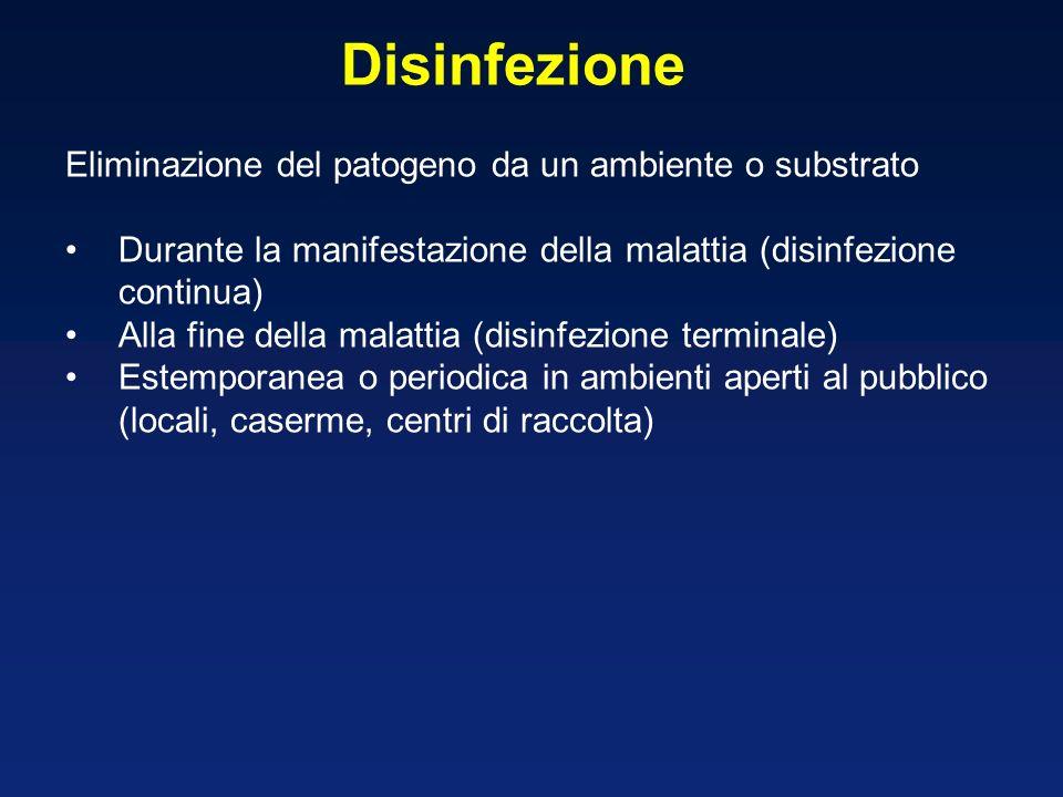 Disinfezione Eliminazione del patogeno da un ambiente o substrato