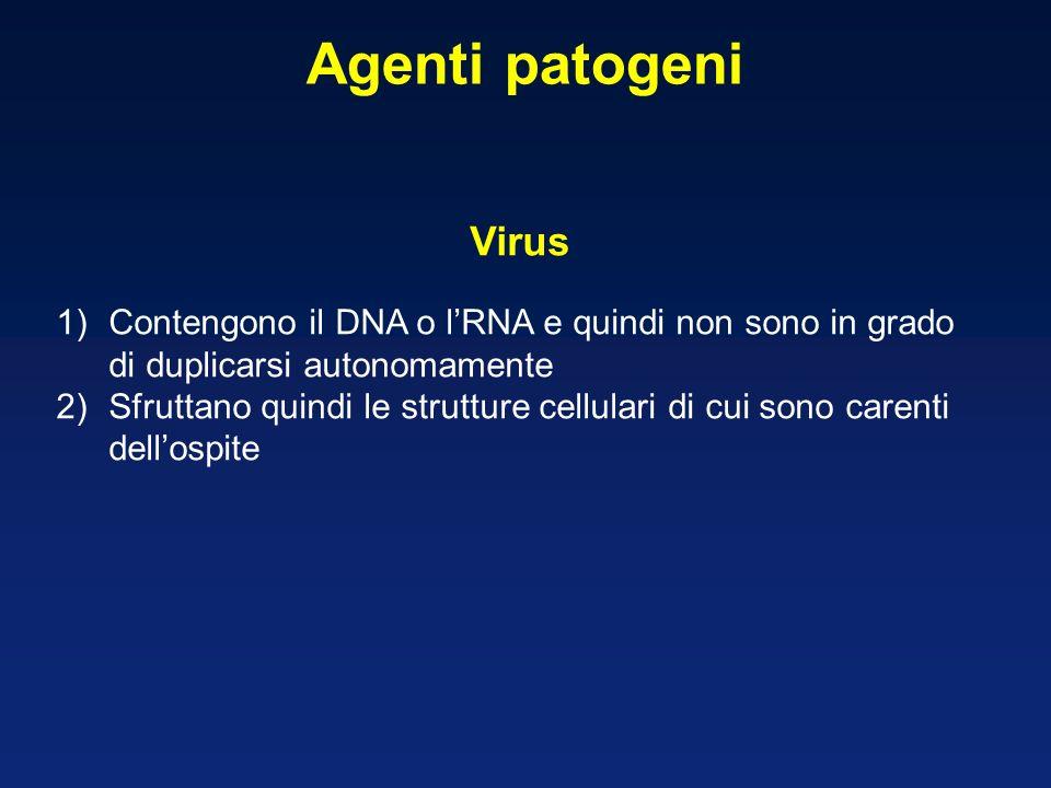 Agenti patogeni Virus. Contengono il DNA o l'RNA e quindi non sono in grado di duplicarsi autonomamente.