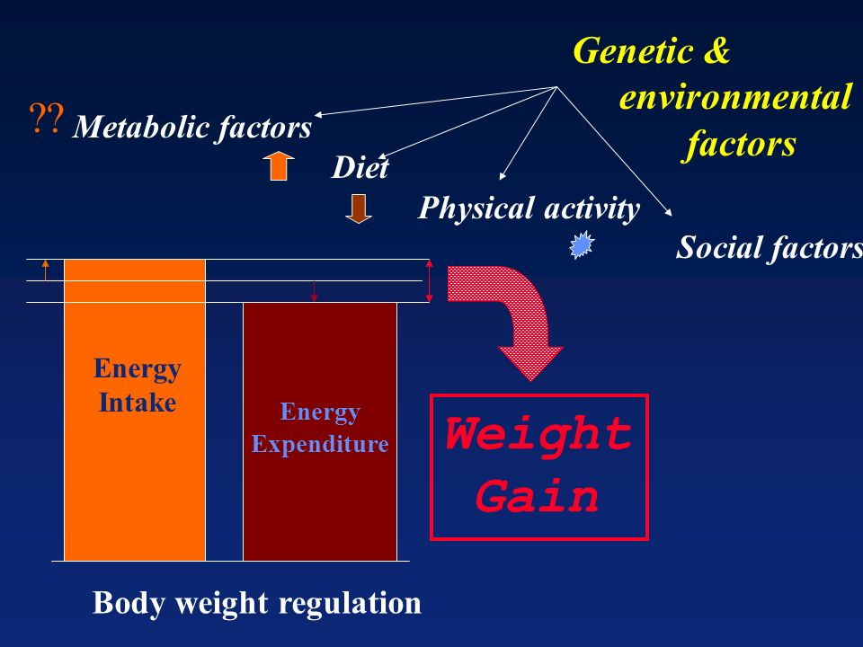Weight Gain Genetic & environmental factors Metabolic factors Diet