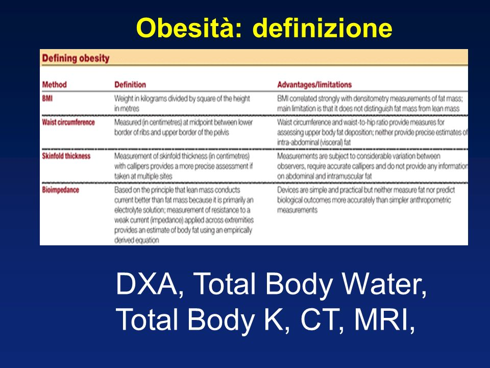 Obesità: definizione DXA, Total Body Water, Total Body K, CT, MRI,
