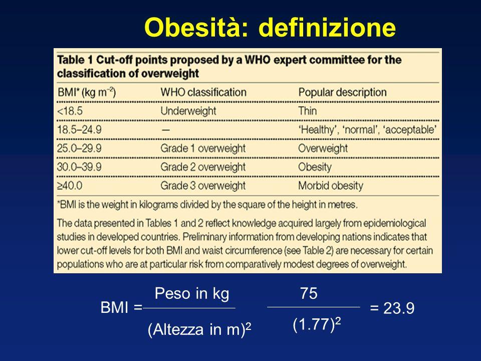 Obesità: definizione Peso in kg 75 BMI = = 23.9 (1.77)2