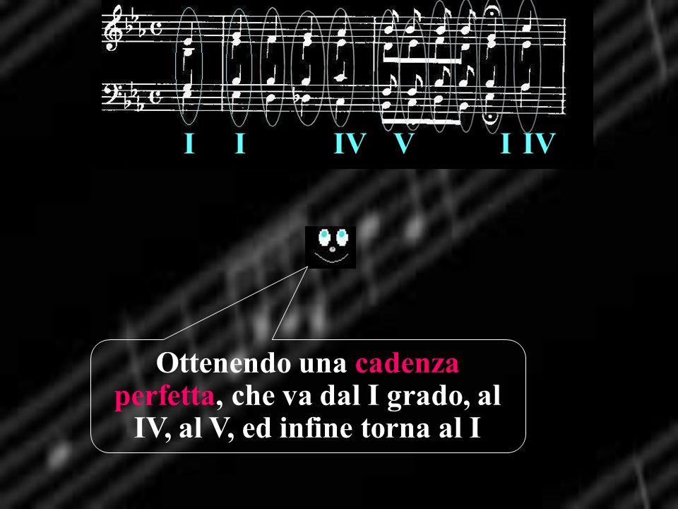 I I IV V I IV Ottenendo una cadenza perfetta, che va dal I grado, al IV, al V, ed infine torna al I