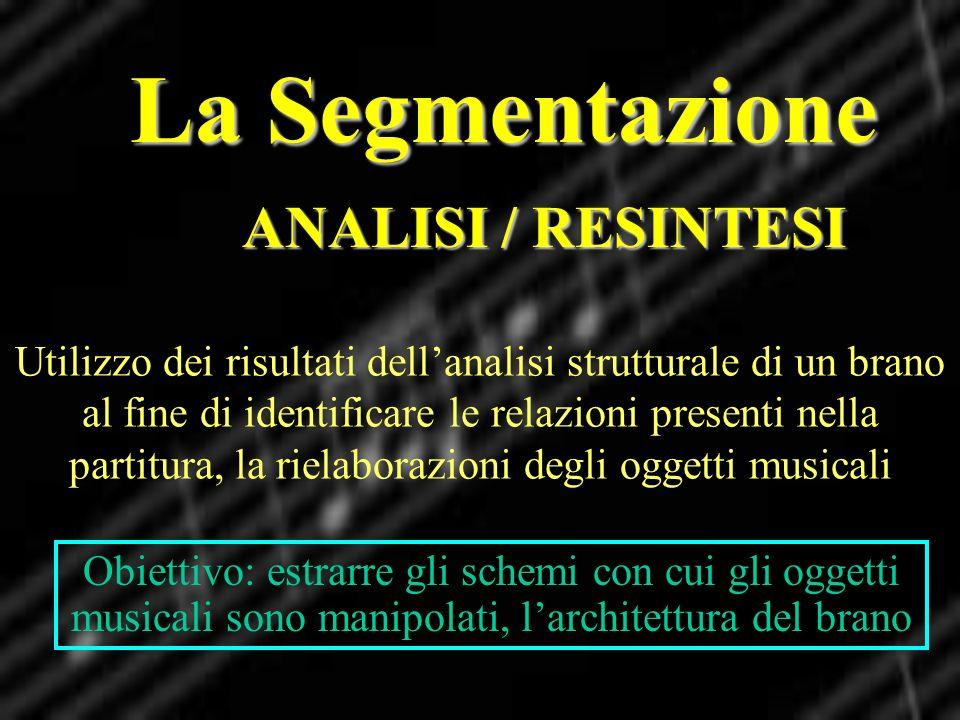 La Segmentazione ANALISI / RESINTESI
