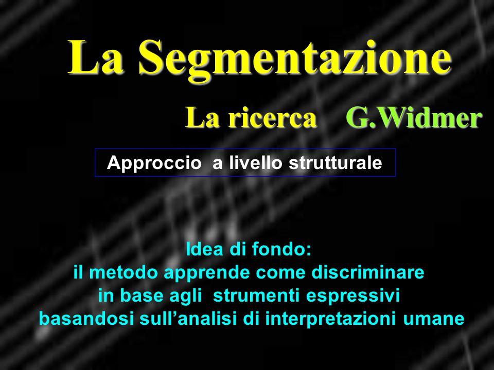 La Segmentazione La ricerca G.Widmer Approccio a livello strutturale