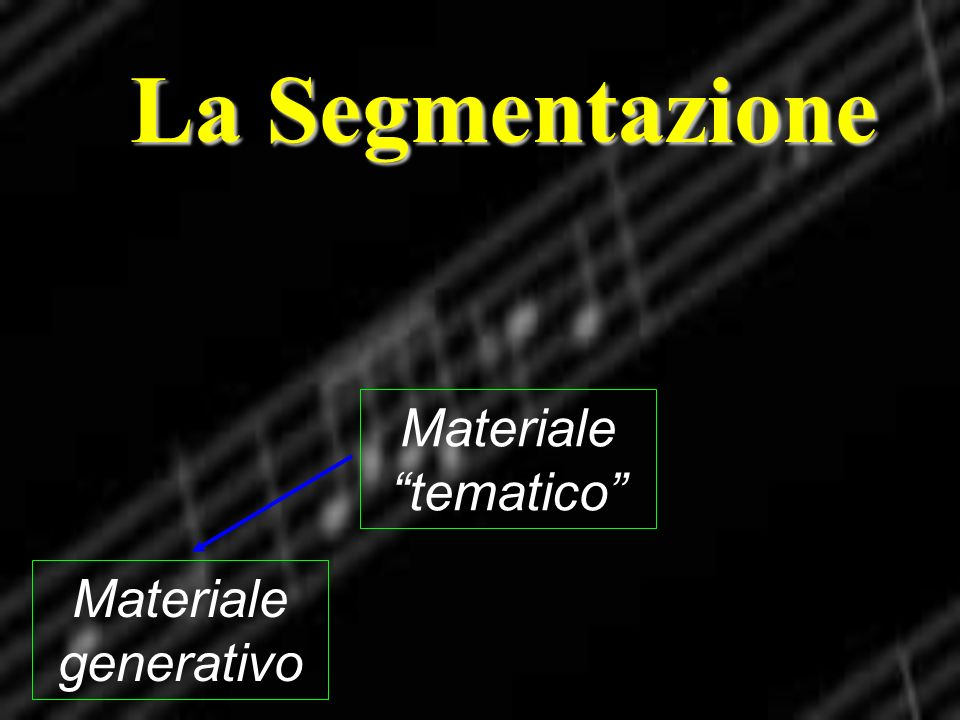 La Segmentazione Materiale tematico Materiale generativo