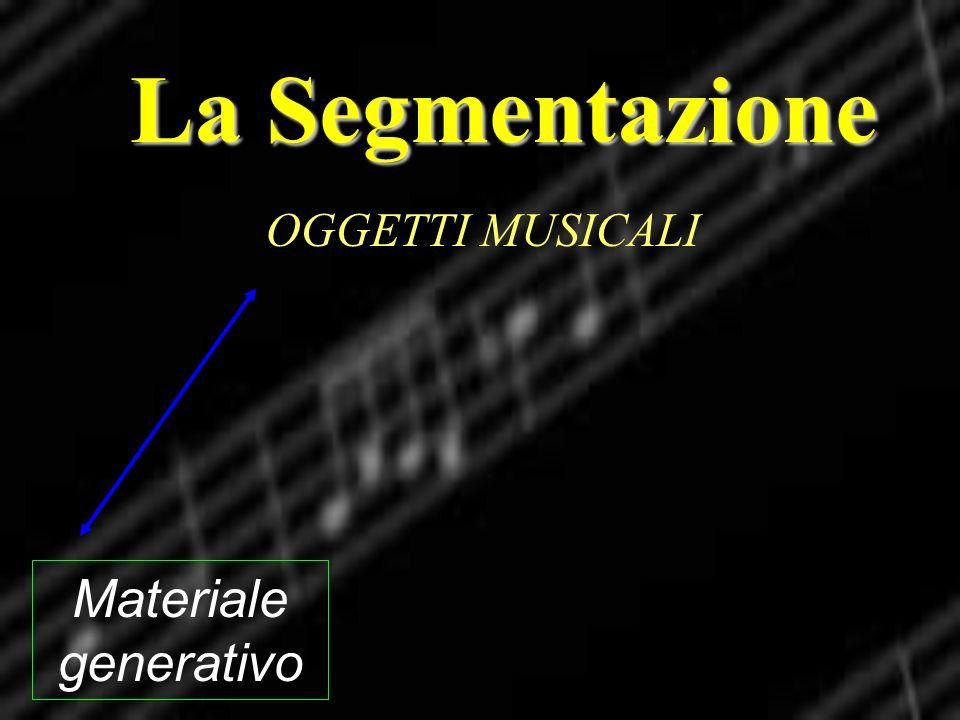 La Segmentazione OGGETTI MUSICALI Materiale generativo