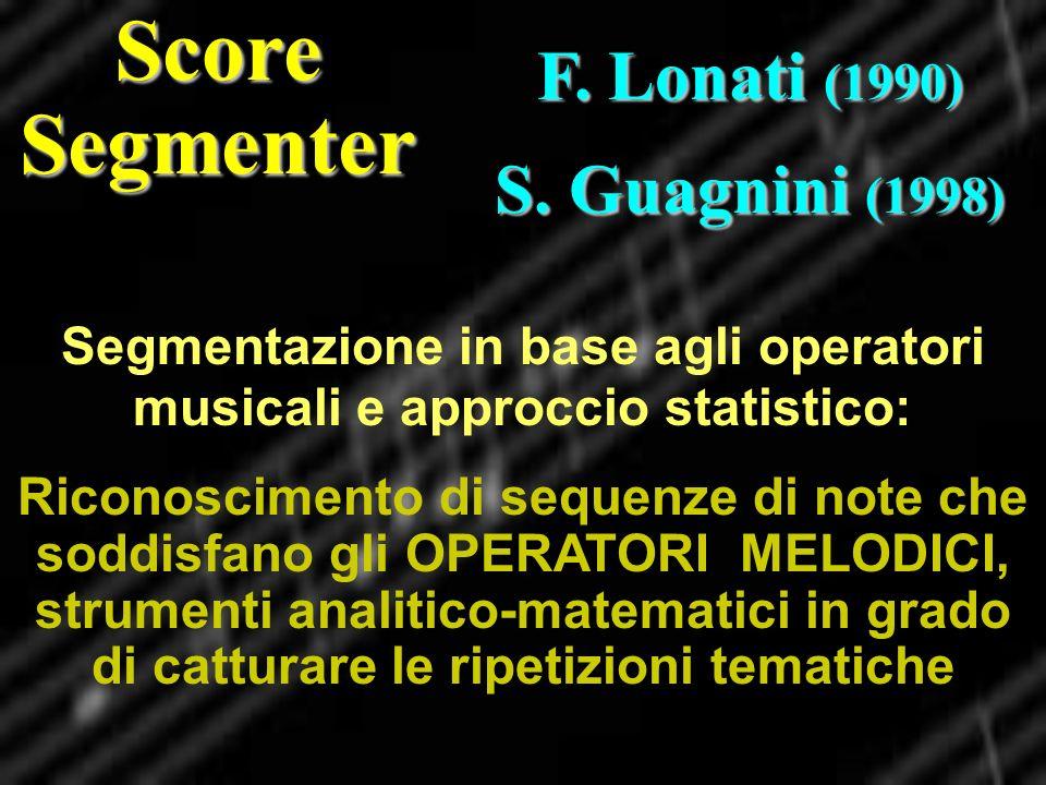 Segmentazione in base agli operatori musicali e approccio statistico: