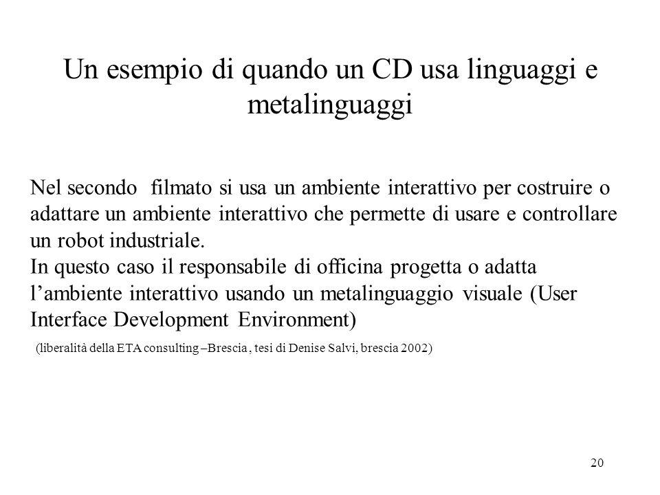 Un esempio di quando un CD usa linguaggi e metalinguaggi