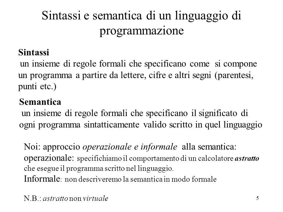 Sintassi e semantica di un linguaggio di programmazione