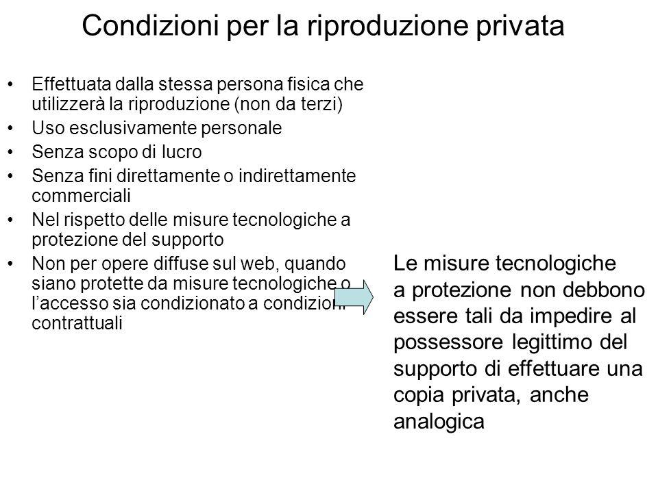Condizioni per la riproduzione privata