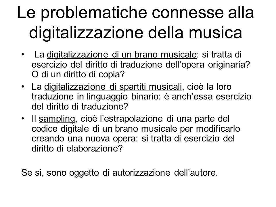 Le problematiche connesse alla digitalizzazione della musica