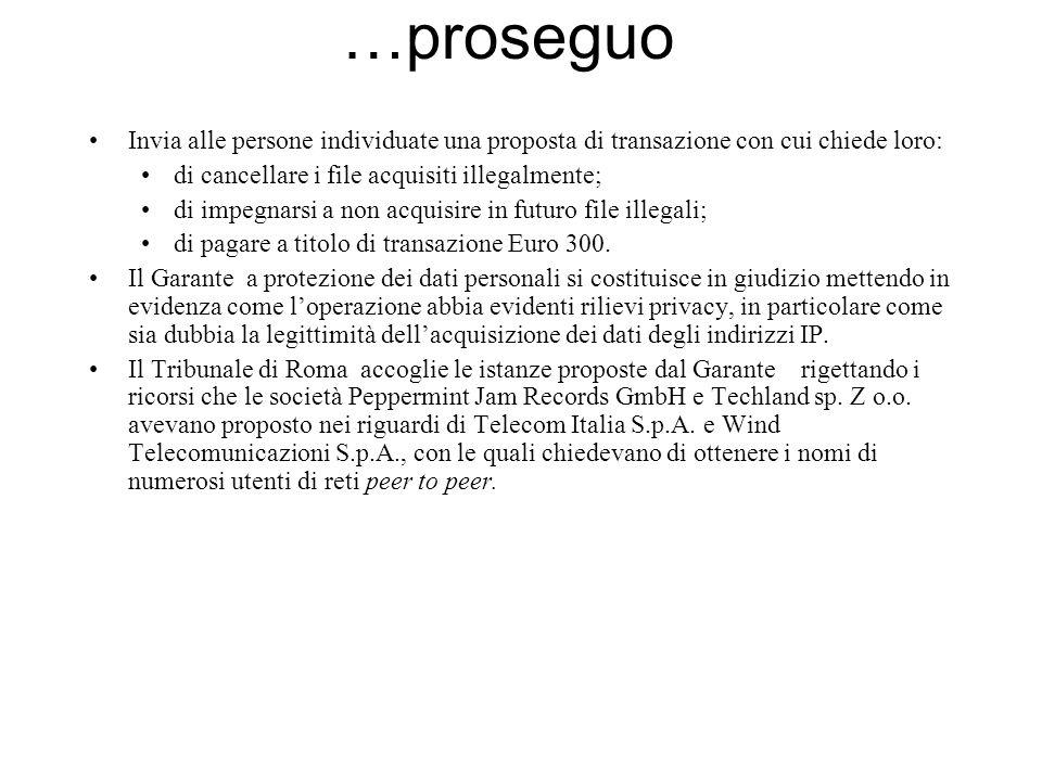 …proseguo Invia alle persone individuate una proposta di transazione con cui chiede loro: di cancellare i file acquisiti illegalmente;