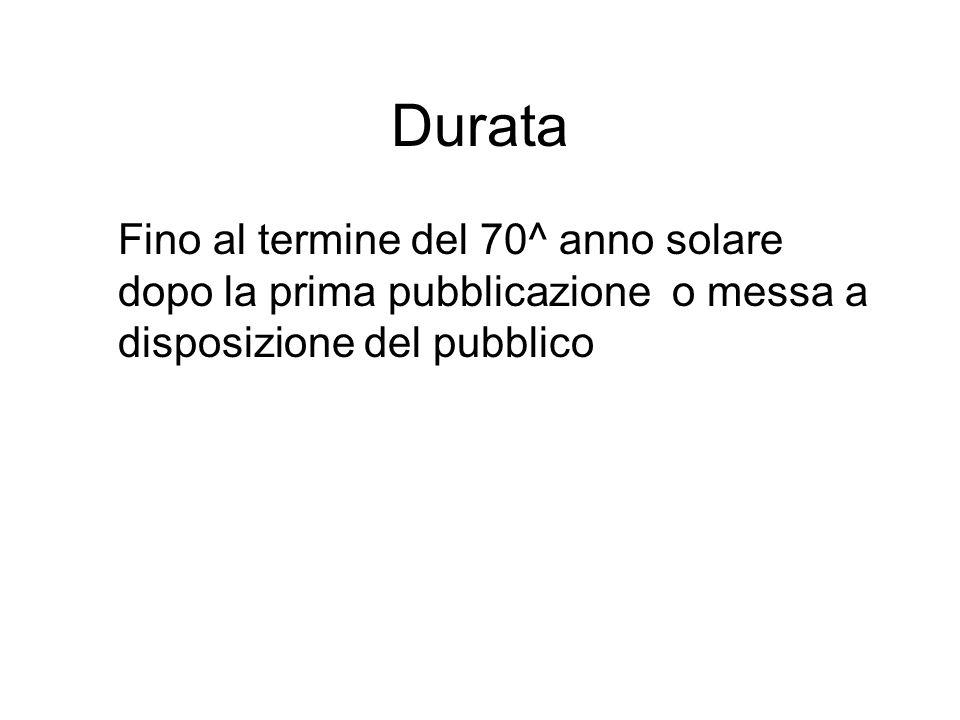 Durata Fino al termine del 70^ anno solare dopo la prima pubblicazione o messa a disposizione del pubblico.