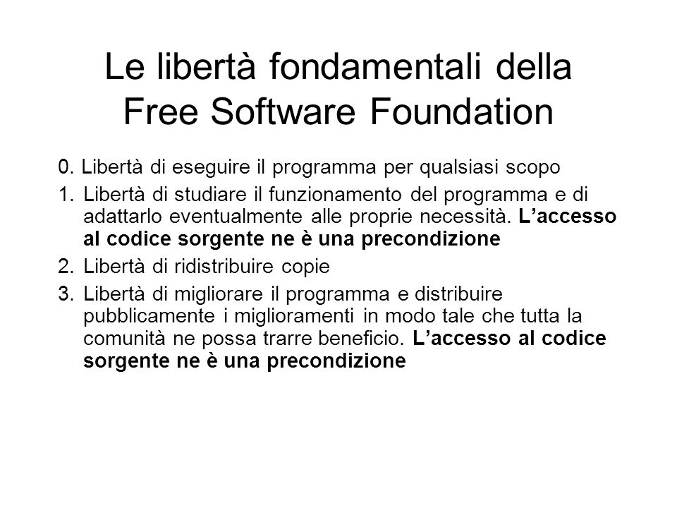Le libertà fondamentali della Free Software Foundation