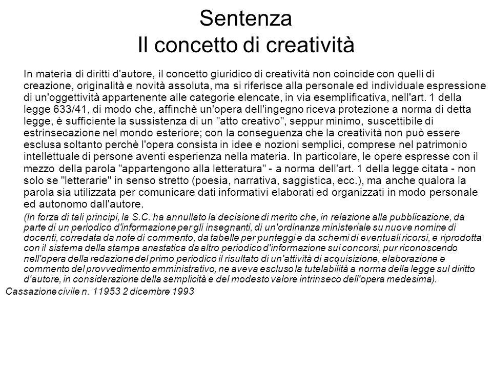 Sentenza Il concetto di creatività