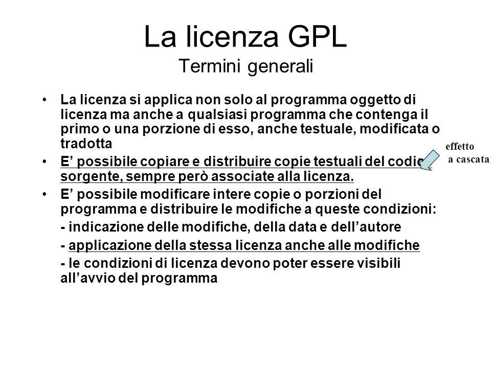 La licenza GPL Termini generali