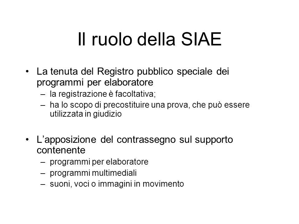 Il ruolo della SIAE La tenuta del Registro pubblico speciale dei programmi per elaboratore. la registrazione è facoltativa;
