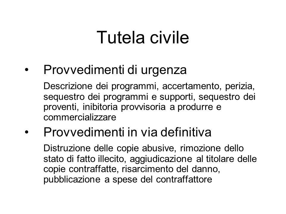 Tutela civile Provvedimenti di urgenza Provvedimenti in via definitiva