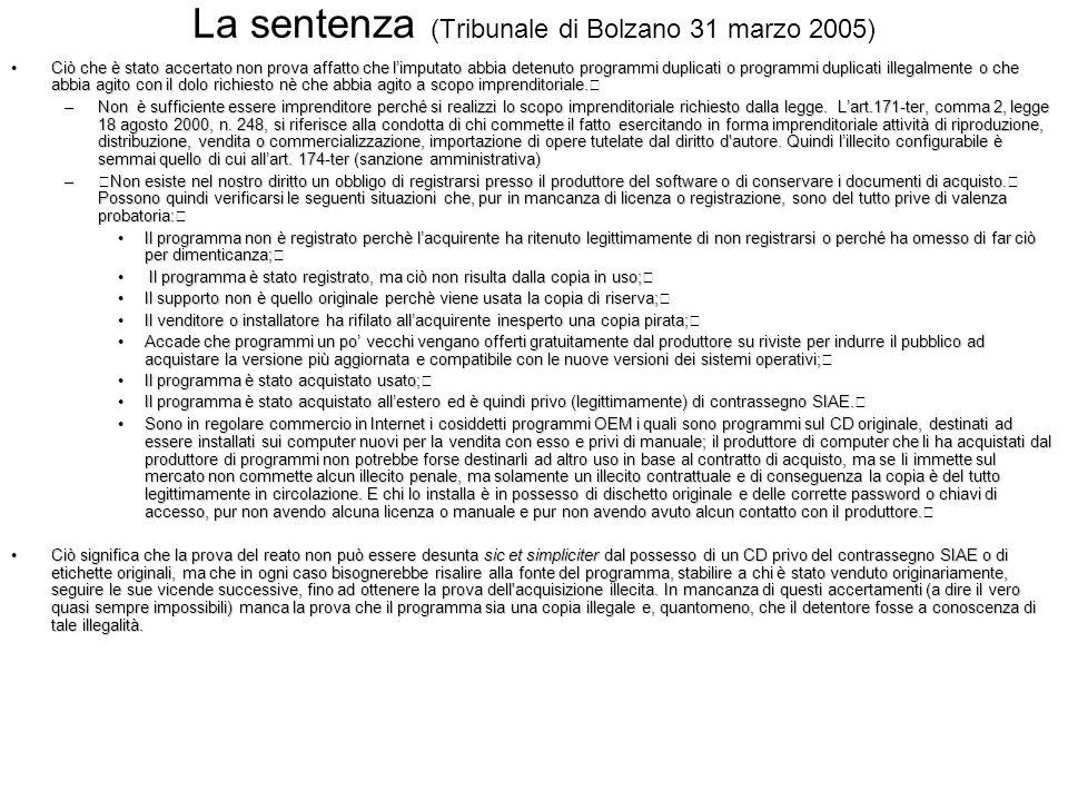 La sentenza (Tribunale di Bolzano 31 marzo 2005)